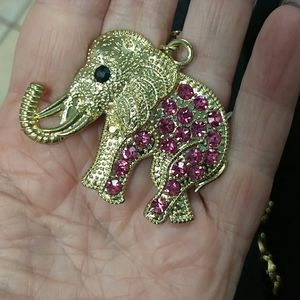 3/$20 Elephant charm gold link necklace